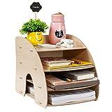 4 Layer Design File Sorter Rack Bogenförmiges, mehrschichtiges A4-Magazin Buch Dateiständer Organizer Office Home Desk Aufbewahrungsbox zum Platzieren von Büchern Dokumente Handys(Kirschholz)