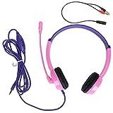 Asixxsix Singal Directional 3.5mm Wired Over Ear Headsets, Surround Sound Gaming Kopfhörer, zum Studieren von Musik(Pink)