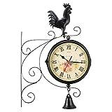 TopHGC Garten Retro Uhren Outdoor, doppelseitige Wanduhr Retro Standuhr wasserdichte Paddington Station Wanduhr Vintage Antik Look Halterung Indoor Hanging Decor Clock