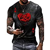 KUOGE 2021 Fashion Men's T-Shirt Poker Ace of Hearts Playing Card Heart A Printed Casual Slim Tops (XXL,Black)