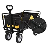 YJYDD Bollerwagen Faltbar ohne mit Dach Handwagen Gartenwagen Transportwagen farbig (Color : Anthrazit+gelb ohne Dach)