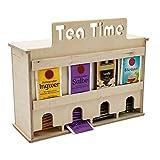 INEXTERIOR Teebeutelspender aus Holz - 4 Teesorten - zum Stellen oder Wandmontage - Schriftzug: Tea Time - Teebox Teekiste Teeorganizer