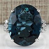 TZZD Fashion Big Blue-Stein-Ring-Charme-Schmucksache-Frauen CZ Trauringe Versprechen Verlobungsring Damen-Accessoires Geschenke Z4K146 (Main Stone Color : Ring K255, Ring Size : 7)