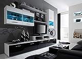 KRYSPOL Wohnwand BETA Anbauwand, Wohnzimmer-Set, Modern Design (Weiß/Schwarz Glanz + Weiß Glanz)
