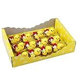 Osterküken Deko, Ostereier Deko, 12er Gelbe Entzückende flaumige kleine Küken mit kükenNest und Eier, Ostern Dekoration für Tabellen und Partydekorationen (Set A)