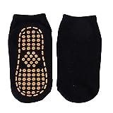 2 Paar Baby Kinder Baumwolle rutschfeste Bodensocken Trampolinsocken Erwachsene Bequeme tragen widerstandsfähige rutschfeste Sport Yoga Socken Fußmassage-Black-1-S for1-4year