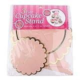 Uxsiya 3-stufiger Pappregal-Cupcake-Ständer für Süßigkeiten für Babypartys(Pink)
