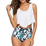 Yczx Damen Bikini Set Verstellbarer Schultergurt Ruffles Strap Badeanzug High Waist Retro Zweiteilige Bademode top + Kurze Hose Tankini Push Up Beachwear M