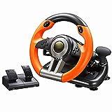 Spiel Lenkrad PC 180 Grad Doppelschwingungslauf Lenkrad mit Pedalen für PC / P3 / P4 / Xbox One/Switch,Orange