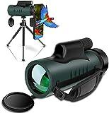 Monokular Fernglas IVSUN 10x42 HD Monokular Teleskop Wasserdicht Handy Fernrohr mit Handy Halterung Stativ für Vogel beobachtung, Wildtier, Camping, Wandern, Ballspiel
