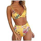 Damen Zweiteiliger Badeanzug Bikini Set Sexy Triangle Tiefer V-Ausschnitt Bikini Oberteil Plaid Bikini Verstellbarer Schultergurt Badeanzug Hohe Taille Badehose Sommer Badebekleidung