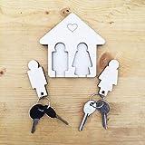 Laserò Schlüsselring   Schlüsselanhänger mit Wandhalterung   Schlüsselhalter aus Holz   Für Haus und Büro, das perfekte Wohnaccessoire Paare   Für Sie und Ihn