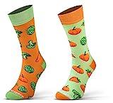 Sesto Senso Lustige Baumwolle Socken Damen Herren Bunte Ungleiche Funny Socks Kürbis Salat Karotten Brokkoli 35-38 Gemü