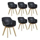 H.J WeDoo 6er-Set Wohnzimmerstuhl Esszimmerstuhl mit Armlehne und Buchenholz Retro Design Stuhl für Büro Lounge Küche Wohnzimmer (Schwarz)