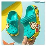 Youpin Jungen und Mädchen Hausschuhe und Sandalen Sommer Mode Kinder Cartoon Höhle Schuhe rutschfeste Baby Hausschuhe Strand Flip Flops Kinder (Farbe: grün, Schuhgröße: 140)