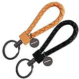 mandoma Schlüsselanhänger für Damen und Herren - 2 Anhänger für Schlüssel (schwarz - orange)