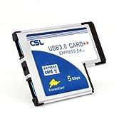 CSL - USB 3.0 Super Speed PCMCIA Express Card Karte 54mm 2 Port Windows 10 fähig für Notebook Laptop - USB Hub intern