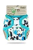 Petit Lulu AIO Taschenwindel One Size (4-15 kg) Klett | Fluffy Organic | Wiederverwendbare & Waschbare Windel | Bambus & Biobaumwolle Einlagen (Elefanten (blau))