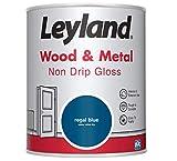 Leyland 423442 Wood & Metal Non Drip Gloss Holz und Metall, tropft nicht, glänzend, Regal Blue, 0.75 Liters