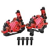 VGEBY HB-100 Fahrrad Scheibenbremssatz Hydraulischer Scheibenbremssatz aus Aluminiumlegierung vorne hinten Kompatibel mit Rennrad Mountainbike(rot)