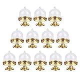 12 Stück Mini-Kuchenständer Kuchenplatte Kuchenplatte mit Haube Kuchenständer Kuchen Glasglocke Kuchenbox Süßigkeitenbox-Halter für Hochzeit Tischdeko Perfekt, Bankette, Feste, Partys (Goldene Basis)