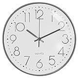 TOPPTIK Wanduhr, 30,5 cm, moderne digitale Uhr, geräuschlos, nicht tickend, batteriebetrieben, runde Wanduhr, leicht zu lesen, dekorativ für Wohnzimmer, Zuhause, Küche, Büro, Schule (weiß-silber)