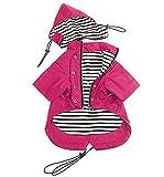 Pethiy- Stylische Premium-Hunde-Regenmäntel,Hundekleidung mit Reißverschluss, mit reflektierenden Knöpfen und Taschen, Regen/wasserabweisend, Verstellbarer Kordelzug, abnehmbare Kapuze-Rosa-XL