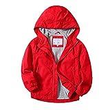 JUIYNIZT Kinder Jungen Einfarbige Jacke Übergangsjacke Warm Atmungsaktiv Winddicht Wanderjacke Regenjacke Outdoorjacke mit Kapuze(Rot, 146/152)