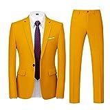 Yowablo Jacke Top Pants Herren Anzug Slim 2-teiliger Anzug Business Wedding Party Jacke Top Pants (6XL,3gelb)
