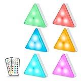 Maxuni Schrankleuchten LED Batteriebetrieben, Mehrfarbig Dimmbar LED Schrankbeleuchtung, Nachtlicht mit Fernbedienung und Berührungssensor, RGB Unterbauleuchte mit Timer-Einstellung, 6er Set