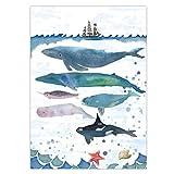 Garneck Tier Wandbilder Wal Wandmalerei Moderne Wandplakat für zu Hause Wohnzimmer (Bunt 36 * 28 Cm)