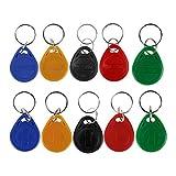 HFeng (Packung mit 10) 125 kHz RFID Zugangskontrolle Schlüsselkarte Nähe EM4100 TK4100 Keyfobs Schlüsselanhänger Smart ID Keycard für Tür Elektroschloss System NFC Token-Tag (Mix Color)