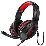 ASYHWZ Gaming-Headset für PS4, PC, Xbox One Controller, Rauschen, das über Ohrkopfhörer mit, LED-Licht, Bass-Surround, weiche Ohrenschützer für Laptop-Mac-Switch-Spiele