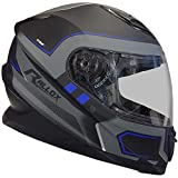 Rallox Helmets Integralhelm 510-3 schwarz/blau RALLOX Motorrad Roller Sturz Helm (XS, S, M, L, XL) Größe M