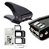 MMOBIEL Universal 3 in 1 Stanze/Standard SIM/Micro SIM/Nano SIM Karte Cutter für alle Simkarten von Smartphones/Tablets inkl. SIM Adapter + 1 SIM-Karten-Slot Öffner Pin