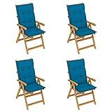 vidaXL 4X Teak Massiv Gartenstuhl mit Blauen Kissen Klappbar Hochlehner Klappstuhl Holzstuhl Gartenmöbel Terrassenstuhl Stühle Stuhl