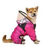 Hund Regenmantel mit Kapuze, Haustierkleidung Jumpsuit wasserdichte Hundejacke Hunde Wasserbeständige Kleidung für Hunde Verstellbarer Haustiermantel,Rosa,4XL