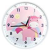 Yudou Kinder-Wanduhr, niedliches Einhorn-Design, leise, nicht tickend, Lernuhr für Mädchen, Schlafzimmer, Klassenzimmer, Wohnzimmer, 30,5 cm, rosa W