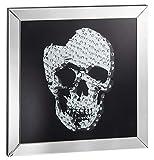 Möbelbörse Wandbild Skull Bild Wandspiegel Totenkopfbild Spiegel Glasbild Spiegelglas Design Wohnzimmer Totenkopf 60x60