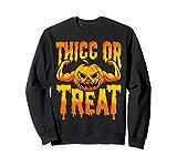 Funny Halloween Swole Pumpkin Thicc or Treat Pumpkin Sweatshirt
