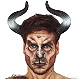 Amakando Universeller Stierhörner Haarreif für Damen & Herren / Schwarz-Weiß / Bullen-Hörner Minotaurus / Perfekt geeignet zu Fastnacht & Mottoparty