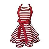 MLOPPTE Vintage Cotton Plaid Großes Layout Küchenschürze Reinigungsmittel Damen Schürze Nagel Arbeitskleidung rot-tiao