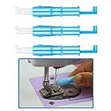 Einfädelhilfe für Nähmaschinen,3er Pack Automatischer Nähnadel Inserter Kunststoff Nadeleinfädler Werkzeug für Nähmaschine Blau 7.5cm