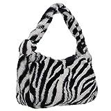 VALICLUD Frauen Plüsch Handtasche Zebra Clutch Geldbörse Achselhöhle Tasche Umhängetasche Tasche für Den Abend Einkaufen Besondere Anlässe Täglich Weiß