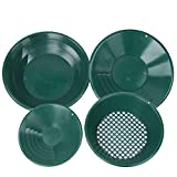 【𝐅𝐫𝐮𝐡𝐥𝐢𝐧𝐠 𝐕𝐞𝐫𝐤𝐚𝐮𝐟 𝐆𝐞𝐬𝐜𝐡𝐞𝐧𝐤】 Goldpfannen-Kit, Metallwaschwerkzeug 90 ° Rifled Design Kunststoff 4-teiliges Grüngold-Waschpfannen-Kit, traditionell für den Bergb