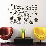 Lamubh Tierhandlung Wandaufkleber Katze Hund Pfote Wandtattoo Dekoration Vinyl Aufkleber Tier für Kinderzimmer 57x88