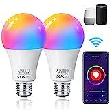 Alexa Glühbirnen E27 Smart LED-Lampe, 10W 1000LM AISIRER WLAN Mehrfarbige Dimmbare Birne, App Steuern Kompatibel mit Alexa Echo, Google Home, kein Hub benötigt, Warmweiß/Kaltesweiß licht, 2er Pack