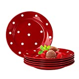 Van Well Emily 6er Set Kuchenteller rot-weiß gepunktet, rund Ø 200 mm, Steingut Teller rund, D