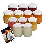 La ColletterieTM – Joghurtgläser aus Glas mit wasserfesten Deckeln – hergestellt in Frankreich – für Joghurtbereiter und Multi-Kocher (SEB, Thermomix etc.) – 143 ml / 125 g