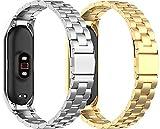 Chainfo Uhrenarmband kompatibel mit Xiaomi Mi Band 5 / Xiaomi Mi Band 6 / Amazfit Band 5, Unisex Edelstahl Schnellspanner (Pattern 3+Pattern 4)